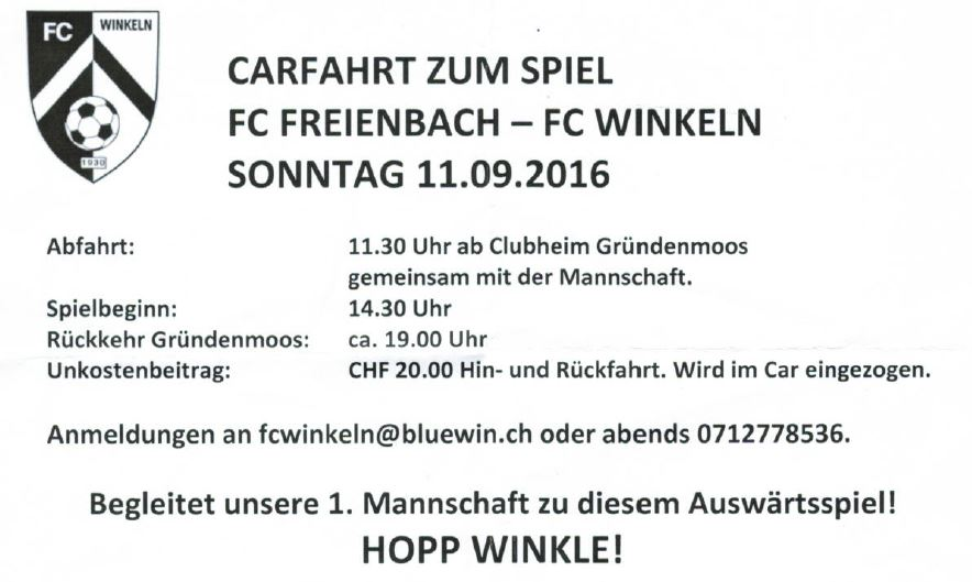 Carfahrt zum Spiel: FC Freienbach - FC Winkeln